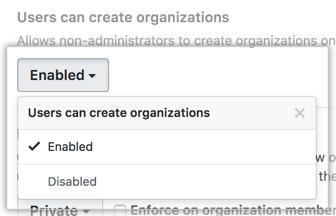Menu suspenso Users can create organizations (Usuários podem criar organizações)