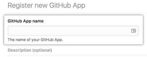 Campo para nombrar tu GitHub App