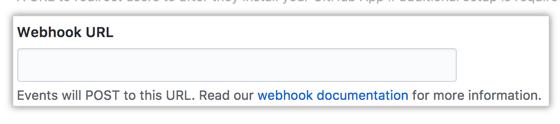 Campo para la URL del webhook de tu GitHub App