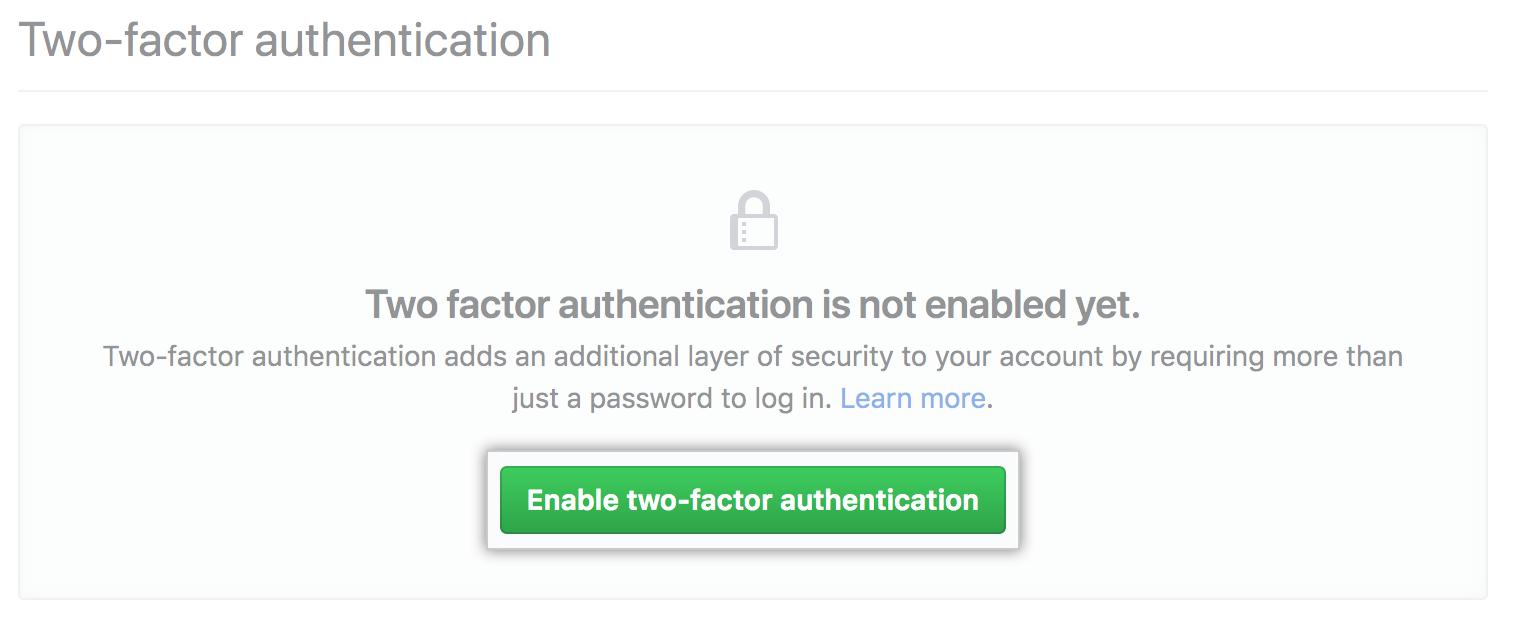 Habilitar a opção de autenticação de dois fatores