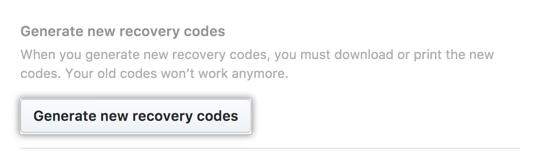Botão Generate new recovery codes (Gerar novos códigos de recuperação)