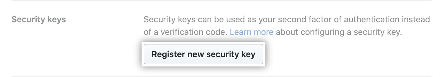 Registrar uma nova chave de segurança