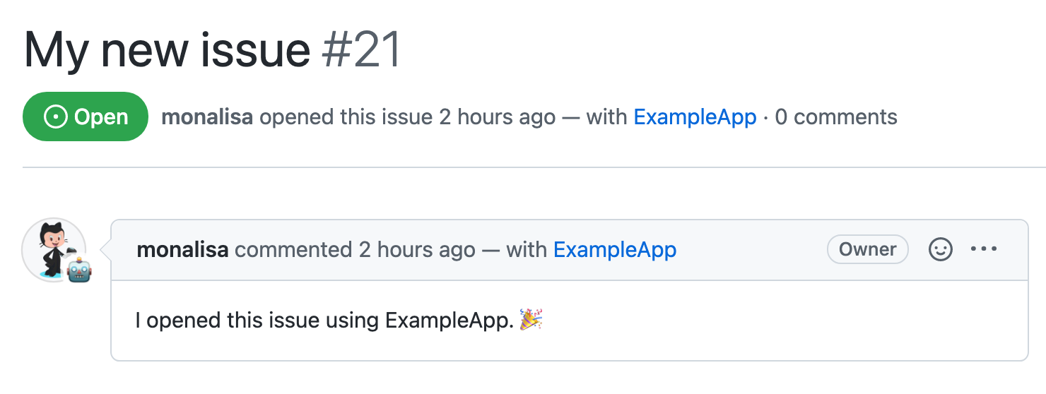 """An issue created by a """"user-to-server"""" request from a GitHub App"""