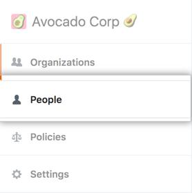 Aba Pessoas na barra lateral da conta corporativa