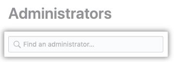 Campo de búsqueda para encontrar un administrador