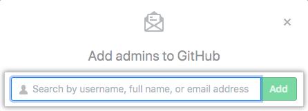 Campo de búsqueda para agregar un administrador