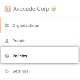 """Registerkarte """"Policies"""" (Richtlinien) auf der Seitenleiste des Enterprise-Kontos"""