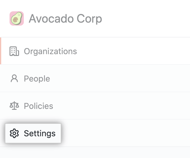 Aba de configurações na barra lateral de contas corporativas
