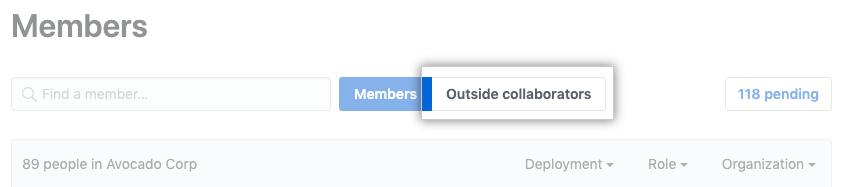 Guia Outside collaborators (Colaboradores externos) na página Organization members (Integrantes da organização)
