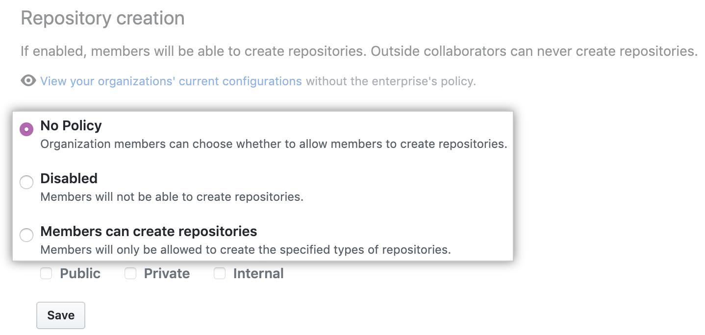Dropdownmenü mit den Optionen für die Richtlinie für die Repository-Erstellung