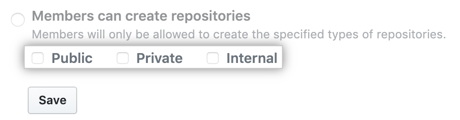 Kontrollkästchen für Repository-Typen