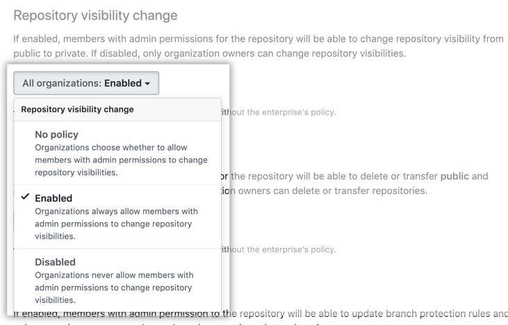 Dropdownmenü mit den Optionen für die Richtlinie für die Repository-Sichtbarkeit
