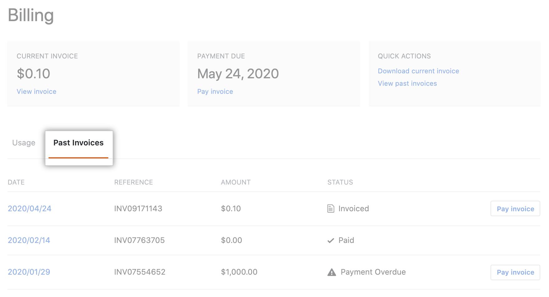 Aba de visualização de histórico de pagamento