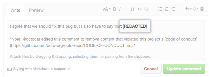 Comment window with redacted content