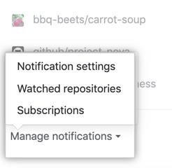 """Opciones del menú desplegable """"Administrar notificaciones"""""""