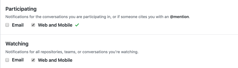 Participating and watching notifications options