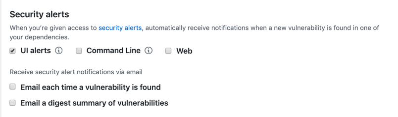 Security alerts options