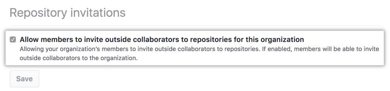 Checkbox to allow members to invite outside collaborators to organization repositories