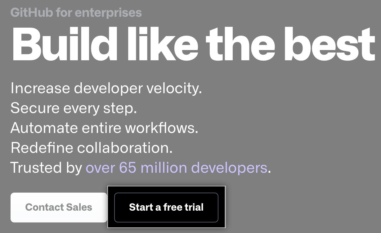 """Start a free trial"" button"