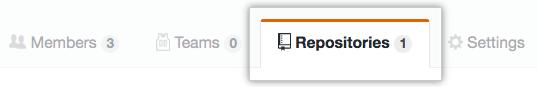 Registerkarte mit Team-Repositorys