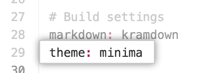 Tema compatível no arquivo de configuração