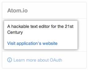 OAuth アプリケーションの情報とウェブサイト