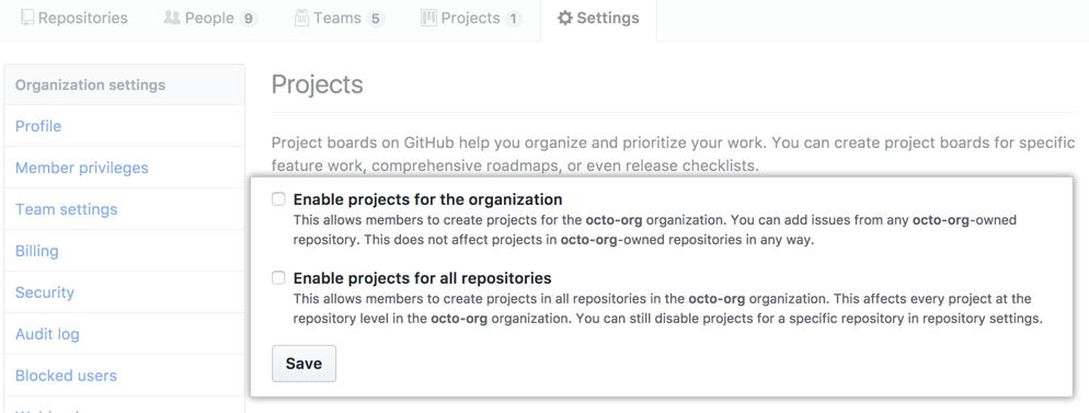 Caixas de seleção para desabilitar projetos de uma organização ou de todos os repositórios de uma organização