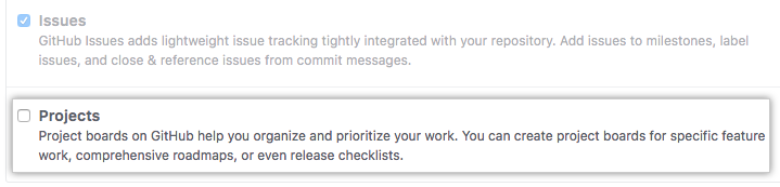 Remove Projects checkbox
