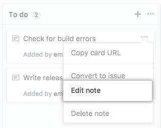 Botão Edit note (Editar observação)