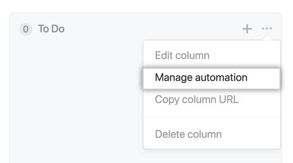 Botão Manage automation (Gerenciar automação)