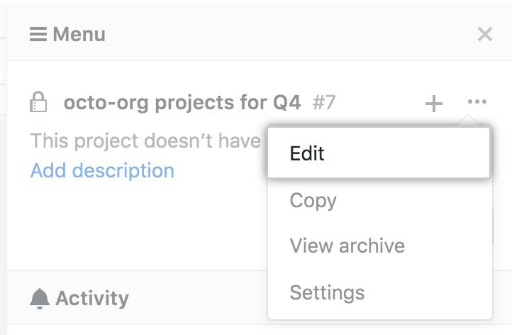"""Option """"Edit"""" (Bearbeiten) im Dropdownmenü der Projektboard-Seitenleiste"""