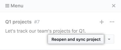 """Schaltfläche für die Auswahl """"Reopen and resync project"""" (Projekt erneut öffnen und synchronisieren)"""