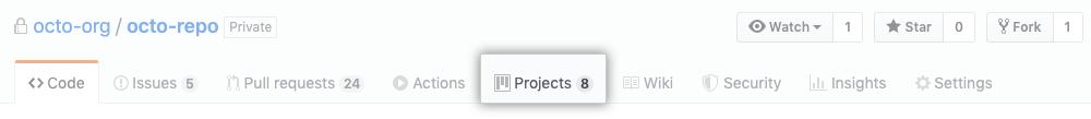 """Registerkarte """"Projects"""" (Projekte)"""