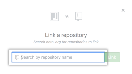 Search field on Link a repository window