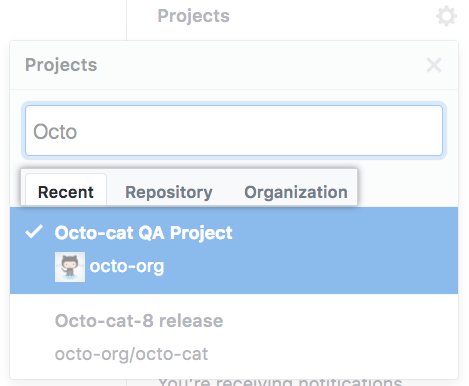 Recent、Repository、Organization タブ