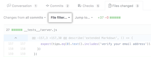 Dateifilter-Option oberhalb des Pull-Request-Diff