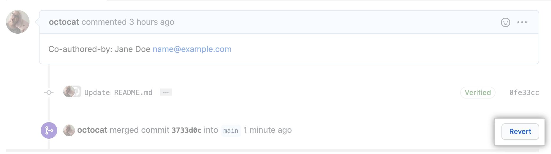 """Link """"Revert pull request"""" (Pull Request rückgängig machen)"""