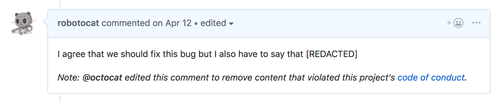 Comment with added note that content was redacted