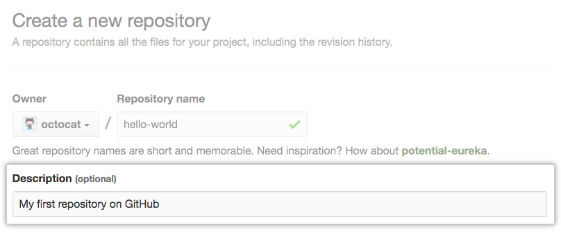 Feld zum Eingeben einer Repository-Beschreibung