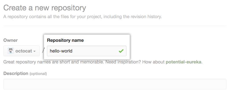 Feld zum Eingeben eines Repository-Namens