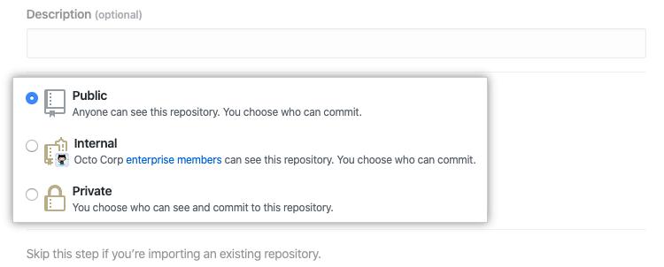Optionsfelder um die Repository-Sichtbarkeit auszuwählen