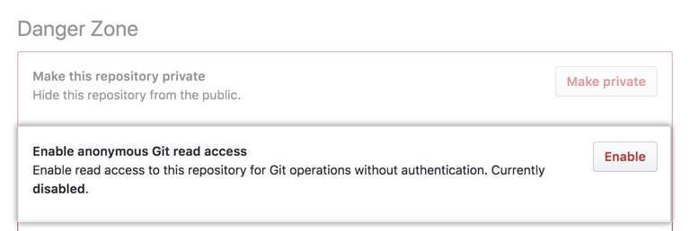 """""""Anonymous Git read access"""" の下の """"Enabled"""" ボタン"""