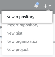 Menu suspenso Create New Repository (Criar novo repositório)