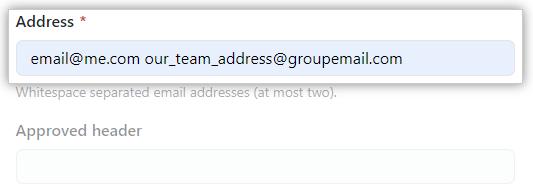 Caixa de texto de endereço de e-mail