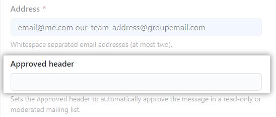 Caixa de texto do cabeçalho do e-mail aprovado