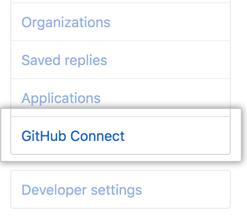 """Registerkarte """"GitHub Connect"""" in der Seitenleiste der Benutzereinstellungen"""