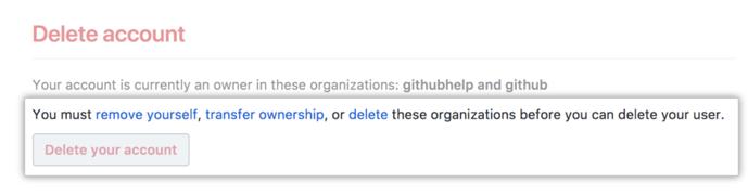 Botão Account deletion (Exclusão de conta)