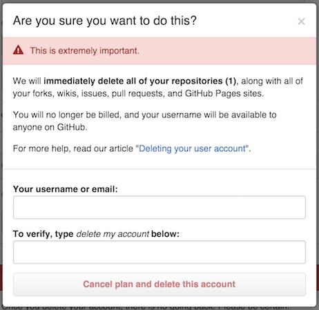 Caixa de diálogo de confirmação Delete account (Excluir conta)