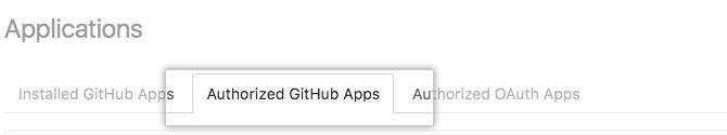 授权的 GitHub 应用程序选项卡