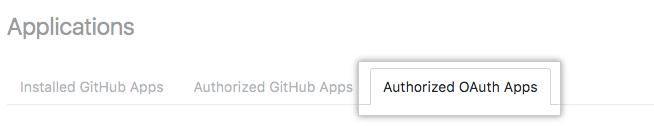 授权的 OAuth 应用程序选项卡